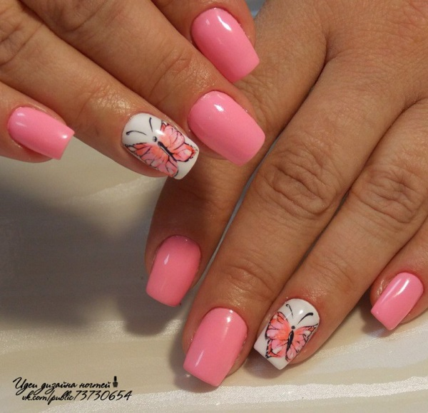 Cute Looking Pink And White Butterflies Nail Art This Simple Yet Eye Catching