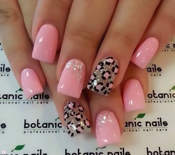 A matte and glitter polish inspired leopard nail art design. Be cute and pink with this pretty little nail art design that looks adorable and refreshing.