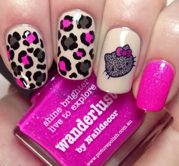 Hello kitty inspired leopard nail art design. The inclusion of help kitty is cute enough but it won't be perfect if the other colors on the design won't fit her. The design has its own charms and quirks.