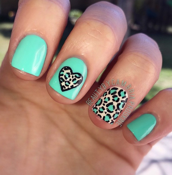 Cute blue inspired leopard nail art design. A nail art design perfect for summer and beaches. The heart shaped leopard prints is something different from the conventional design but definitely wonderful looking.