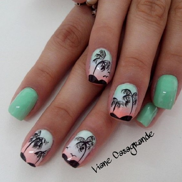 Palm Tree Nail Art 1