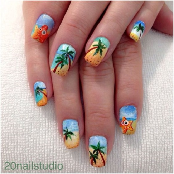 Palm Tree Nail Art 27