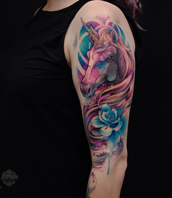 watercolor-unicorn-sleeve-tattoo