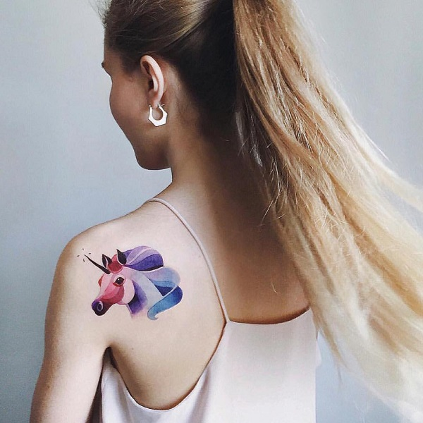 Watercolor unicorn tattoo