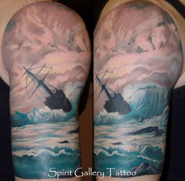 Wave Tattoo Dsign 12