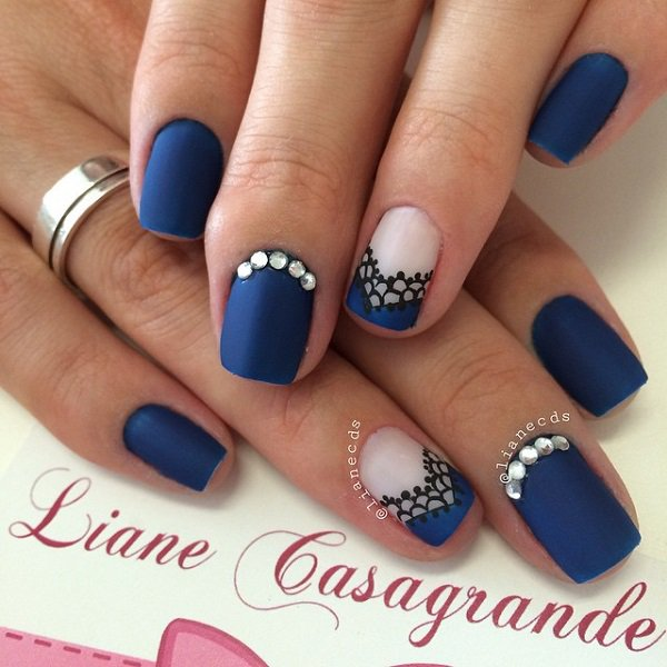 Beautiful and dark matte blue nails. The matte effect of the nail polish  makes a - 30 DARK BLUE NAIL ART DESIGNS - Nenuno Creative