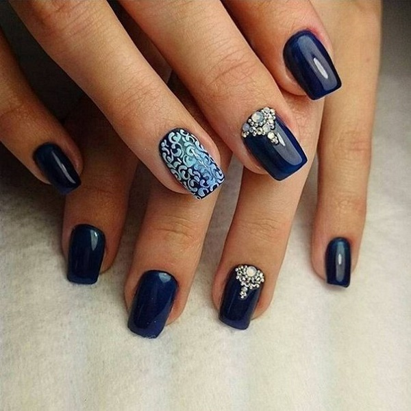 Elegant looking dark blue nail art design. You can see that there are  tribal inspired - 30 DARK BLUE NAIL ART DESIGNS - Nenuno Creative