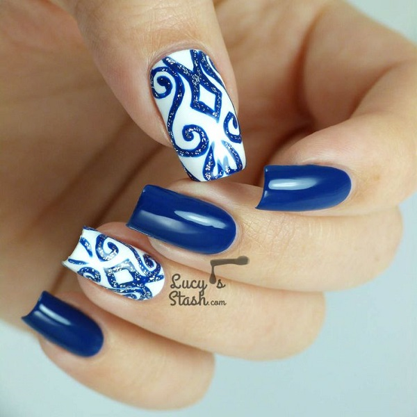 30 dark blue nail art designs nenuno creative beautiful blue dark blue nail art design inspired by lace designs the lace like prinsesfo Gallery