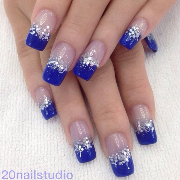 Beautiful dark blue nail art design in French tips. The French tip designs  are n - 30 DARK BLUE NAIL ART DESIGNS - Nenuno Creative