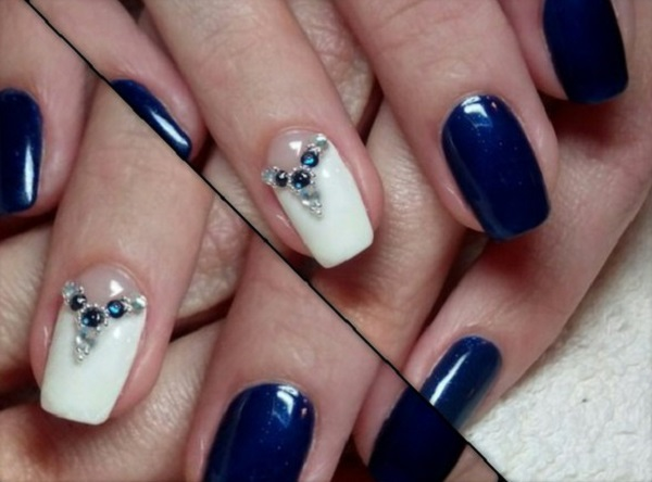 Elegant Looking Dark Blue Nail Art Design With White Shades The And