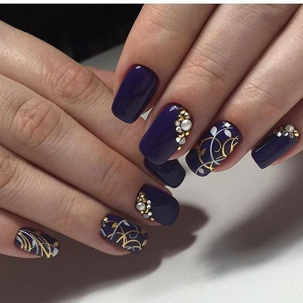 Sophisticated Looking Dark Blue Nail Art Design The Nails Are Painted In