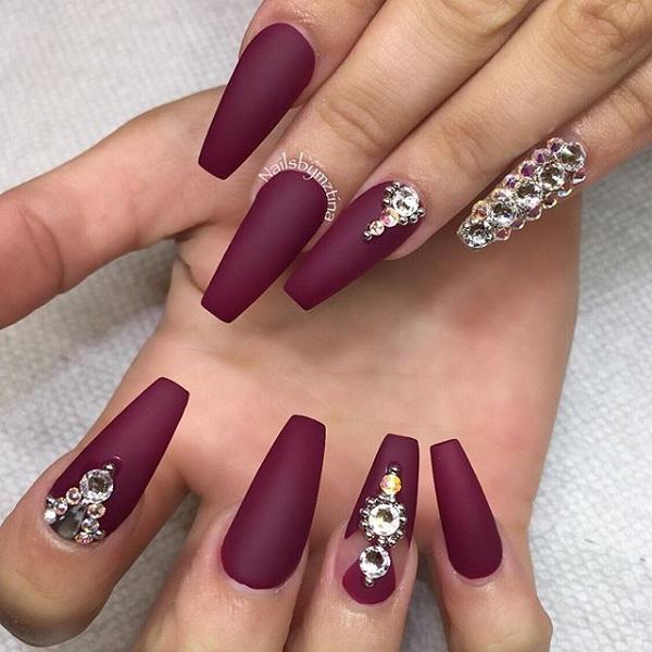 Maroon Nails Design 1