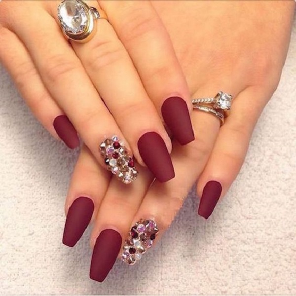 35 maroon nails designs nenuno creative wonderful matte maroon nail art design the maroon polish is them combined with amazing looking prinsesfo Images