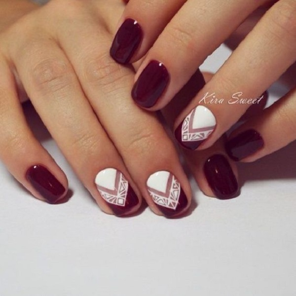 35 maroon nails designs nenuno creative stand out with this amazing white and maroon nail art design step up your nail prinsesfo Image collections