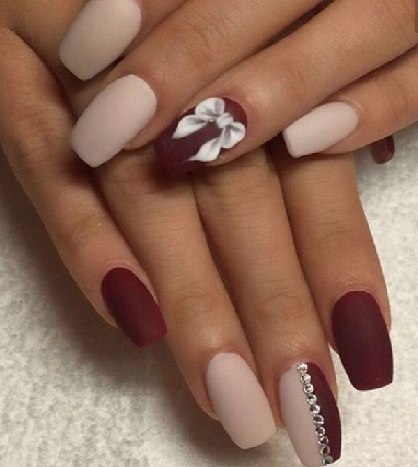 Loving the matte colors on this white and maroon nail art design. Matte  always gives - 35 Maroon Nails Designs - Nenuno Creative