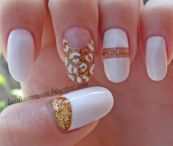 White And Gold Nail Design 1