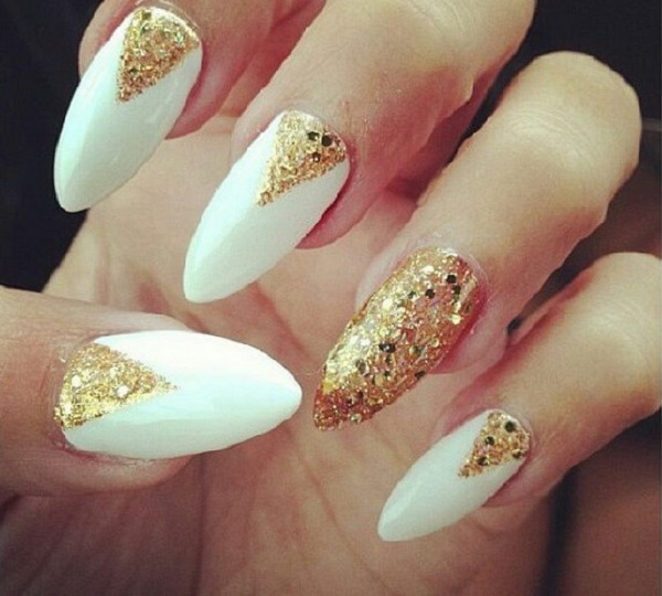 White And Gold Nail Design 10