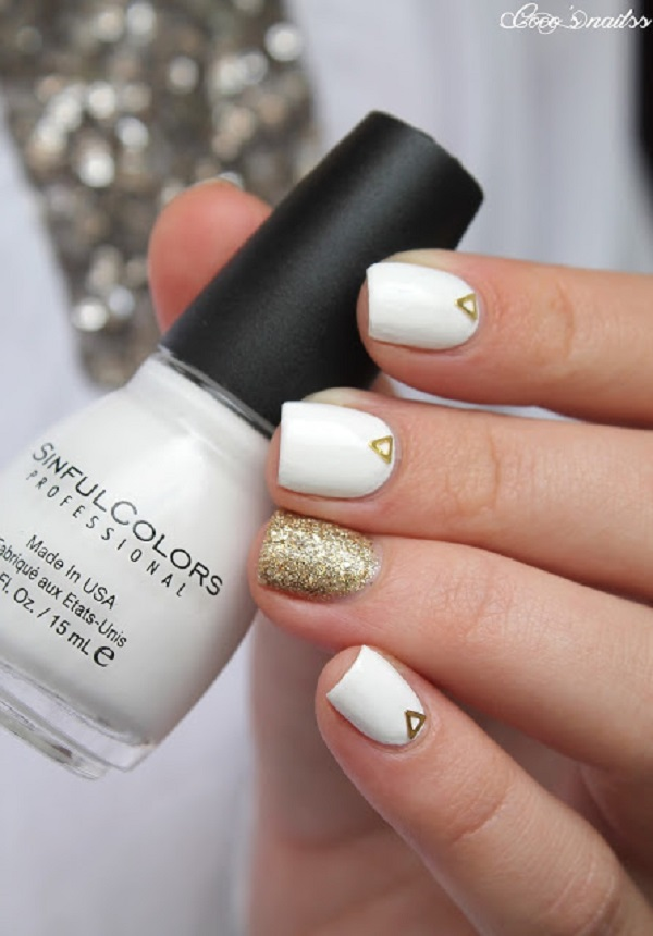 White And Gold Nail Design 11