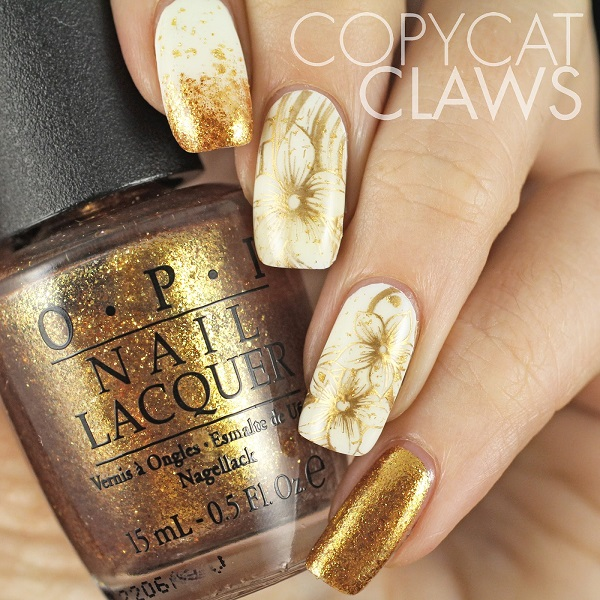 White And Gold Nail Design 13