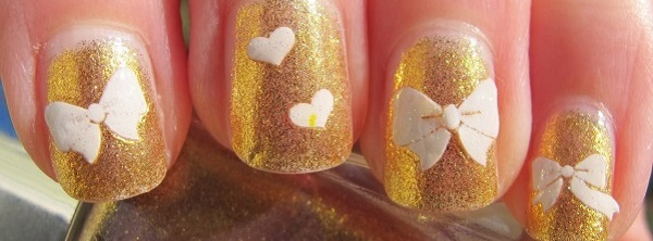 White And Gold Nail Design 17  222