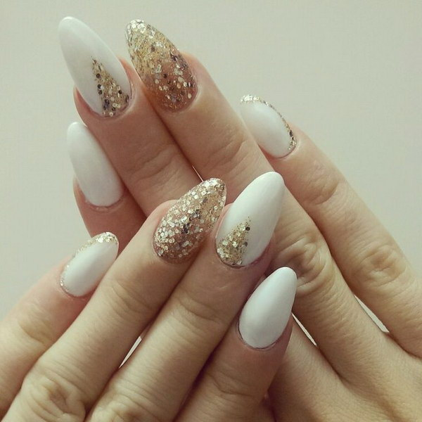 White And Gold Nail Design 24
