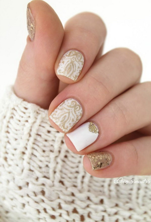 White And Gold Nail Design 25
