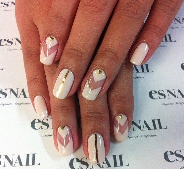 White And Gold Nail Design 3