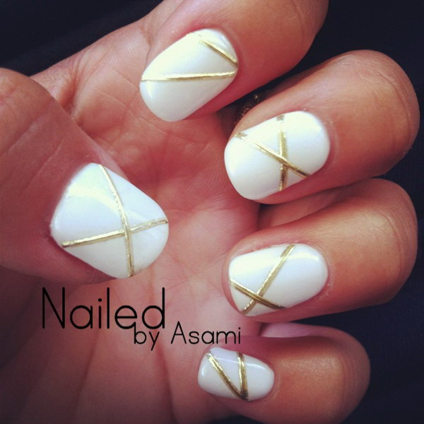 White And Gold Nail Design 32