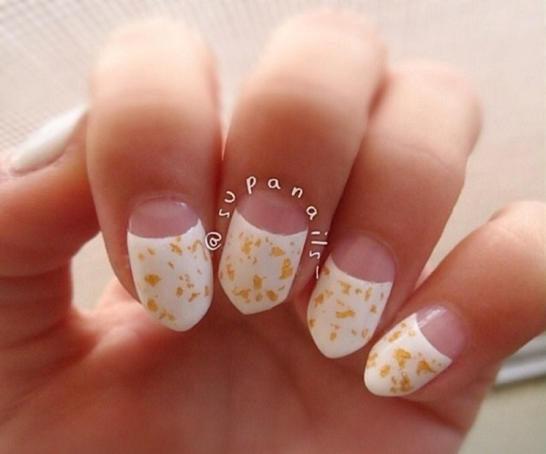 White And Gold Nail Design 5