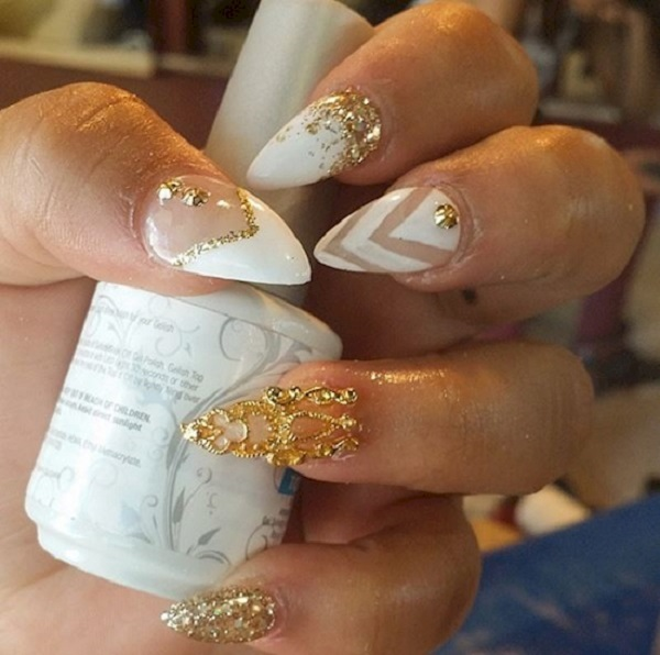 White And Gold Nail Design 6