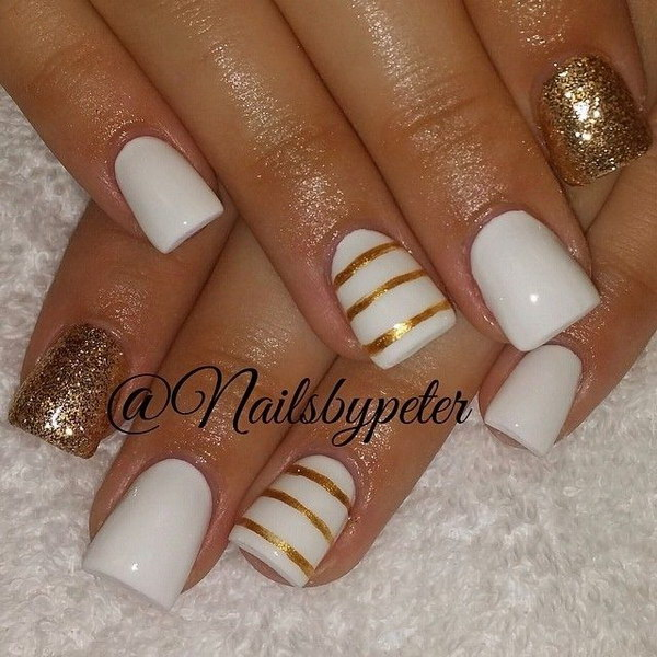 White And Gold Nail Design 7