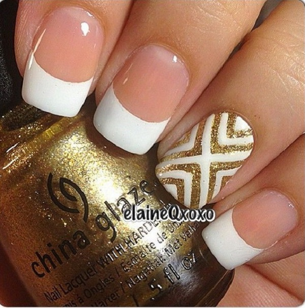 White And Gold Nail Design 9