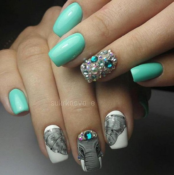 Manicure where the image extends to three or four nails is very fashionable  and popular. - 55 Green Nail Art Designs - Nenuno Creative