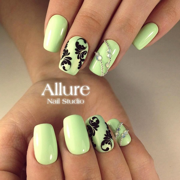 55 green nail art designs nenuno creative very soft and bright green color which is the border with yellow with black prinsesfo Images