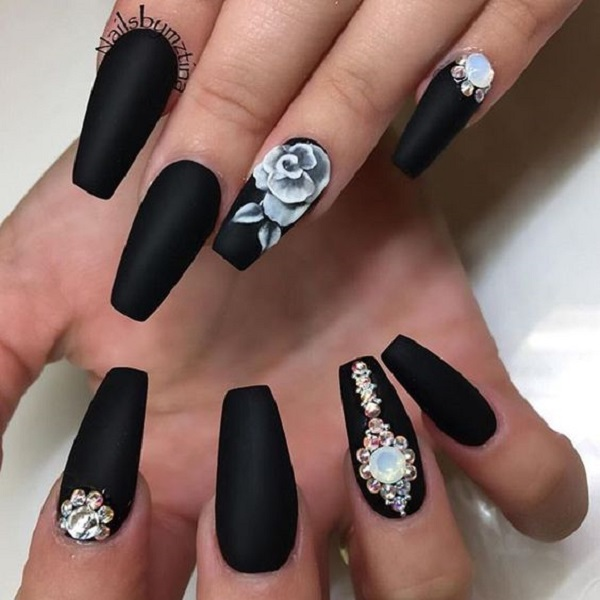 50 rose nail art design ideas nenuno creative elegant looking rose nail art design the matte black background helps make the white rose prinsesfo Choice Image