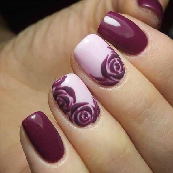 50 rose nail art design ideas nenuno creative beautiful magenta rose nail art design the dark colors contrast greatly with the plain white prinsesfo Choice Image