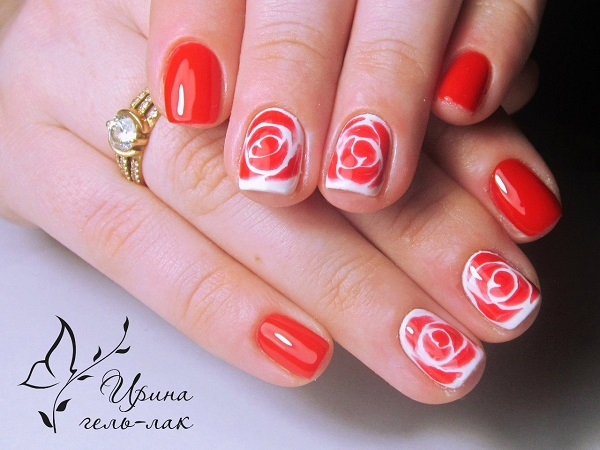 Gorgeous red and white rose nail art design. The nails are painted in full  bright - 50 Rose Nail Art Design Ideas - Nenuno Creative