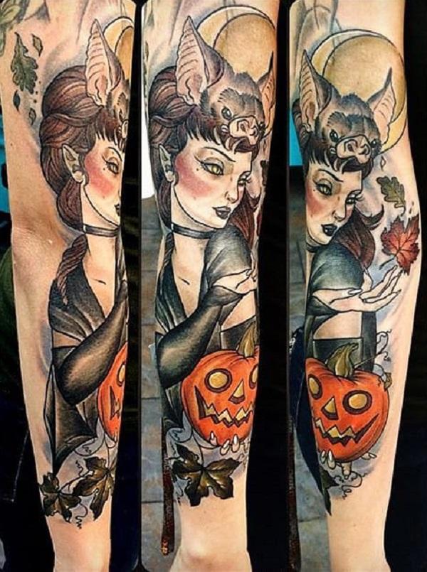 55 halloween tattoo designs nenuno creative for Bat sleeve tattoo