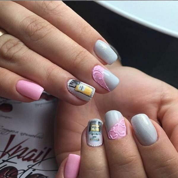 35 nail designs for winter nenuno creative a wonderful pink and gray winter nail art the pink and gray combination is simply prinsesfo Image collections