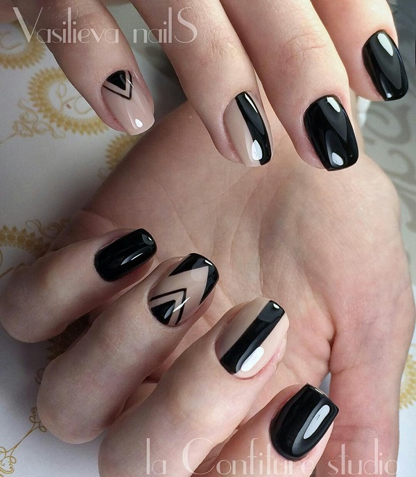 50 black nail art designs nenuno creative black nail art with a beautiful butterfly work girls are often considered to be sleek prinsesfo Images