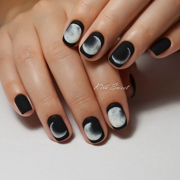 The Glossy nail work with Black and white. Complement your nails with our  next f - 50 BLACK NAIL ART DESIGNS - Nenuno Creative