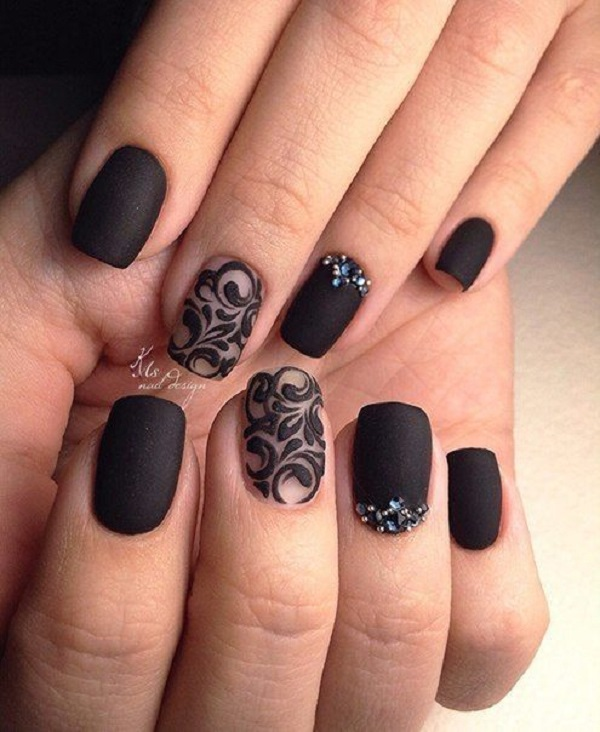 Another studded Black Nail art. If you love ornamented nails and black  color as well - 50 BLACK NAIL ART DESIGNS - Nenuno Creative