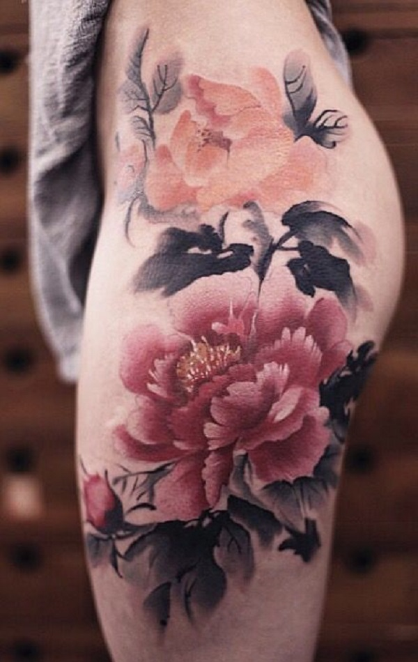 this detailed peony tattoo is simply amazing that has 100 percent