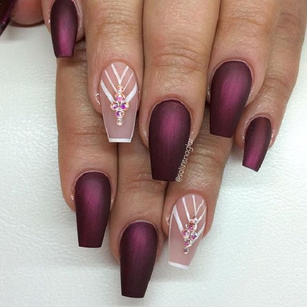 50 coffin nail art designs nenuno creative maroon coffin nails with nude maroon color is always a plus when you wear prinsesfo Images