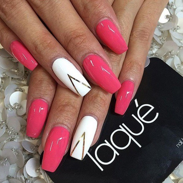 Chevron White And Pink Coffin Nails Color Goes Great With Golden
