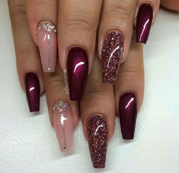 50 coffin nail art designs nenuno creative glossy maroon coffin nails with glitter maroon color is or winners and when they are prinsesfo Images
