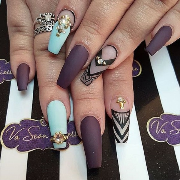 50 coffin nail art designs nenuno creative matte purple and sky blue studded with rhinestones the combo of purple and sky blue prinsesfo Gallery