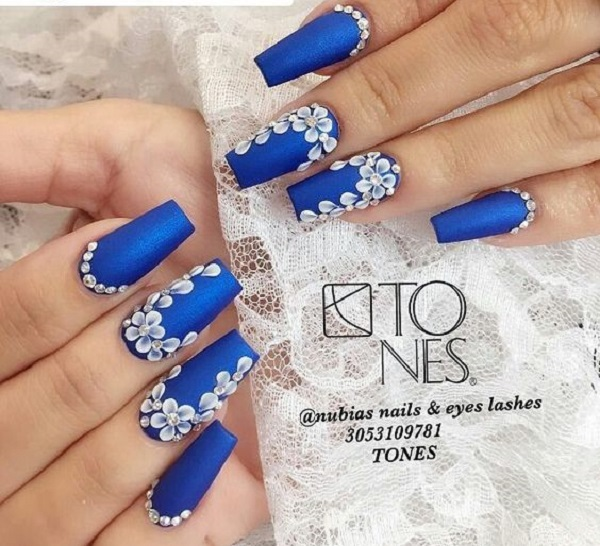 The Floral Blue And White Coffin Nail Art Design