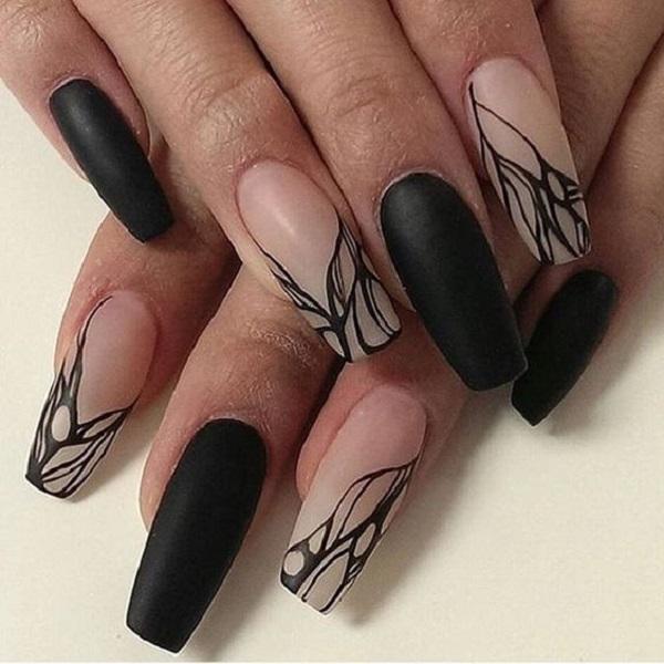 Black Nail Art Designs: 50 COFFIN NAIL ART DESIGNS