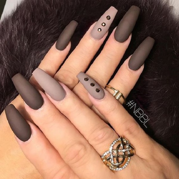 The Neutral Matte Brown Nails With Studs Accentuate Your These Simple Yet Stylish